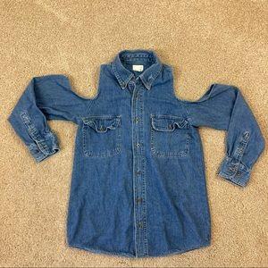 Urban Renewal Cold Shoulder Denim Button Up Shirt